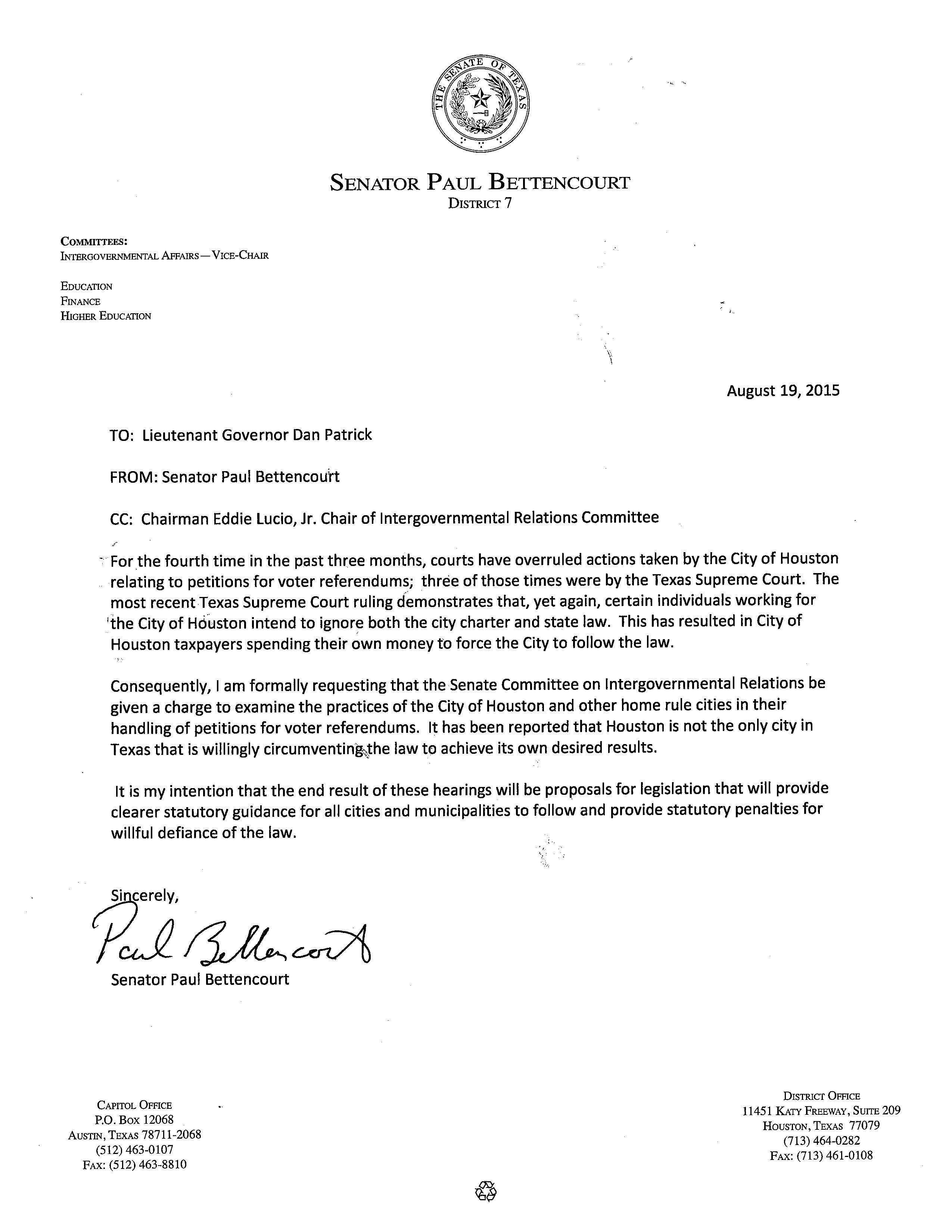 Bettencourt Letter Requesting IGR Interim Charge