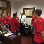 Discussing pension issues with Houston firefighters in Austin